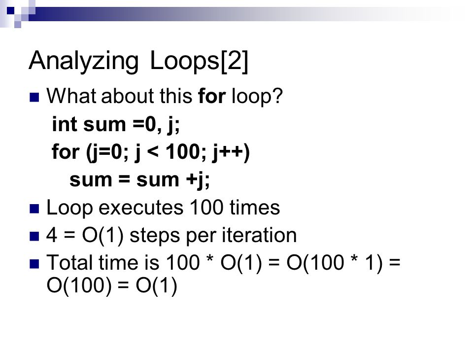 Analyzing Loops[2] What about this for loop int sum =0, j;